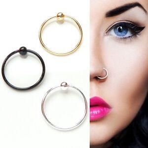Sterling Silver,Gold,Black Plain Ball Nose Cartilage Tragus Ring Hoop  8-10mm