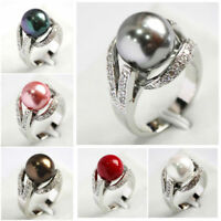 Hot Women's 12mm South Sea Shell Pearl Gemstone Jewelry Ring Size 6 7 8 9