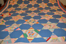 Antique Quilt Hand Stitched Star Quilt 1900's Fabulous
