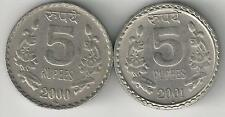 2 DIFFERENT 5 RUPEE COINS from INDIA DATING 2000R & 2001N