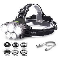 90000LM 5 Head XM-L T6 LED 18650 Headlamp Headlight Flashlight Head Torch Light