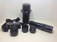 Pentax ME Asahi 35mm Camera Lot with 3  Lenses ~ 50mm, 40-80mm zoom, 100-200mm