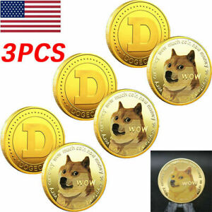 3PC GOLD Dogecoin Coins Commemorative New Collector Gold Color Doge Coin Dogcoin