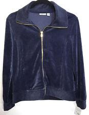 Womens Jacket Navy Blue Velour Small P Full Front Zip 2 Pockets Croft & Barrow