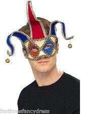 Venetian Musical Jester Joker Eye Mask Red & Blue Bells Masked Ball Masquerade