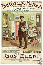 Gus Elen The Coster's Mansion Will Fieldhouse George Le Brunn 7x5 inch Reprint