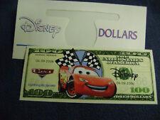 NOVELTY $100.DOLLARS BILL*CARS* LIGHTNING McQUEEN*2006 + DISNEY DOLLAR ENVELOPE
