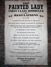 """(484) Old West Brothel Rules Painted Lady Bordello House Poster 11""""x17"""""""