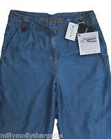 New Womens Blue Wide Leg Tencel NEXT Trousers Size 10 8 6 Long Regular RRP £35