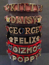 PERSONALISED Cat/Kitten Collar. With SAFETY ELASTIC and RHINESTONE BLING BUCKLE