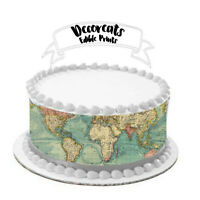 world map, edible image, cake wrap, cake strips,cake image, map, cake, strips