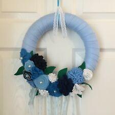Handmade Felt Floral Wreath Light Blue 30cm with organza ribbons