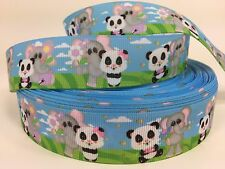 "Bty 1"" Baby Panda And Elephant Grosgrain Ribbon For Hair Bows Dog Collars Lisa"