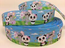 "BTY 1"" Baby Panda And Elephant Grosgrain Ribbon For Hair Bows Dog Collars Lisa"