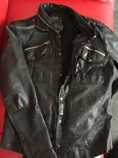All Saints Black Postnoon Leather Shirt Jacket Size XL EXCELLENT CONDITION
