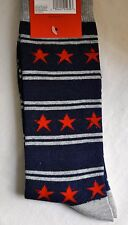 Mens Socks Star 1 Pair Patriot Stripes Fun Crew Sock Blue Red Gray - Guys Gift