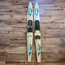"New listing Vintage TAPERFLEX Sundash 66"" Wood Combo Slalom Water Skis Pair Blue White GUC"