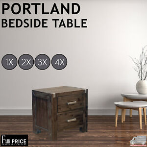 New Acacia Timber Premium Portland Bedside Tables Nightstand, D-Wenge, Espresso