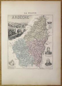 Gravure originale de 1895 - Carte du département de l'Ardèche