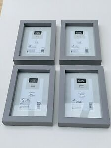 "NEW Set Of 4x 6x4"" BOXED Picture Frames Grey Frame 15x10cm Photo"