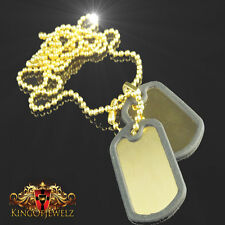 Gold Finish Army Style Dog Tags Chain Pendant W/Tracking  Stainless Steel Bead