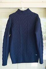Paname De Bleu navy blue mens navy wool turtleneck sweater cable knit medium m