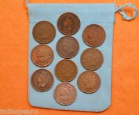 Lot Of 10 Vintage Indian Head Penny 1 Cent US Coins 1890s-1900s * SHIPS FREE *