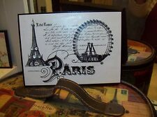 Paris decor white and black PARIS Eiffel Tower block sign Shabby French chic