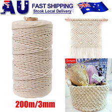200M 100% Natural Cotton String Twisted Cord Cream Craft 3mm Macrame Rope New