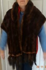 VINTAGE 1950s? BROWN MINK REAL FUR STOLE WRAP LONG CAPE WITH REMOVEABLE TAILS