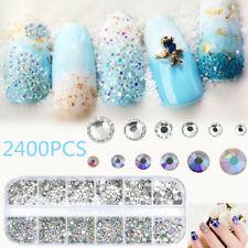 2400PCS Nail Art Rhinestones Glitter Diamonds Crystal Gems 3D Tips Decor DIY US