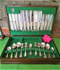 VINTAGE CANTEEN OF CUTLERY 48PC WALKER & HALL SILVERPLATED 'C' MONOGRAMME