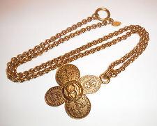 "Authentic CHANEL Vintage CC Logos Gold Chain Pendant 2.75"" Necklace 28"" France"
