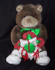 VINTAGE 1985 COMMONWEALTH LUSH PLUSH TEDDY BEAR CHRISTMAS STUFFED ANIMAL TOY