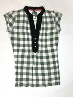 Element Womens S Gray White Black Picnic Table Plaid Short Sleeve T-Shirt Button