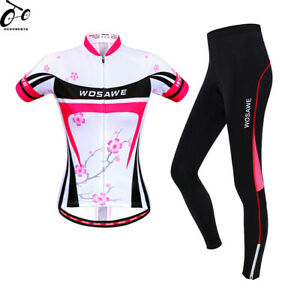 Women's Short Sleeve Cycling Clothing Set Suit Jersey Padded Pants Bicycle Wear