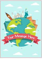 Bon Voyage, viajes Cake Topper A4, Redondo, Cuadrado, Magdalena, añadir mensaje Glaseado Comestible