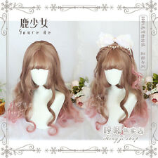 kawaii Women's Wig Lolita Brown Pink Gradient New Hairpiece Curly  Hair Harajuku