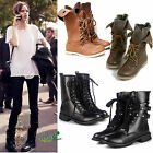 LADIES CALF HIGH BOOTS GIRLS WOMENS BIKER BOOT LACE UP WINTER COOL COMBAT SHOES