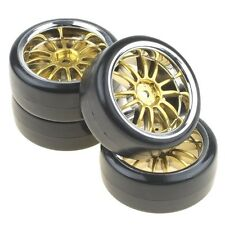 4PCS Hard Tires Tyres + Plastic Gold 12-Spoke Wheel Rims for RC 1:10 Drift Car