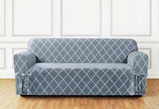 Lattice 1 piece Sofa Slipcover in Pacific Blue with box cushion
