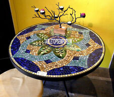 48'' Marble Modern Coffee Dining Table Top Lapis Mosaic Stone Restaurant Decor