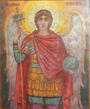1968 Orthodox Hand Painted Icon Archangel Michael Signed