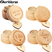 Wooden Wedding Ring Bearer Box Rounded Engagement Ring Holder With Heart Tag