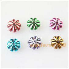 200 New Charms Silver Line Acrylic Plastic Mixed Flower Spacer Beads 7mm