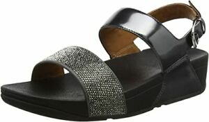 £75 FITFLOP SIZE 3 36 RITZY BACK STRAP PEWTER LEATHER TONING COMFORT SANDALS NEW