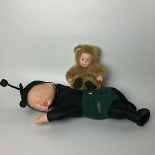 Lot Of (2) Vintage Anne Geddes Baby Dolls- Black Outfit And Bear Outfit 16� 7�