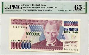 TURKEY 1, 000,000 LIRA 1970 ND 2002 CENTRAL BANK PICK 213 LUCKY MONEY VALUE $65
