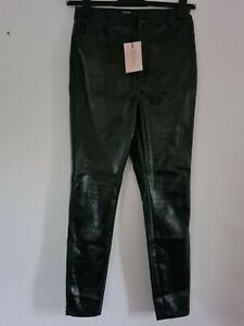 Misguided Petite Black faux croc leather Trousers Size 10 ref cl31