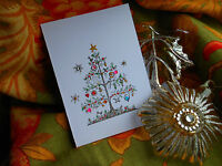 1  Luxury White  Bejeweled Christmas Card matching gift tags available